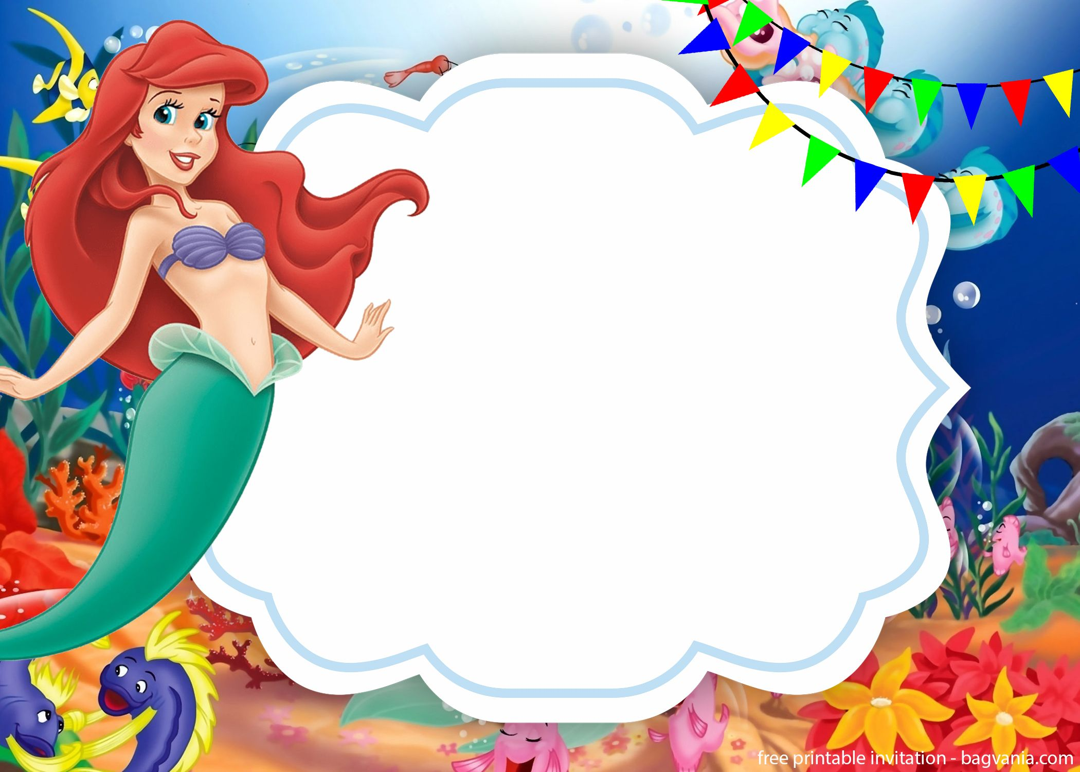 Ariel The Little Mermaid Invitation Template Will Be Suitable To Printed In A Glittery Or Glossy Paper If That So Jasmine Is Answer