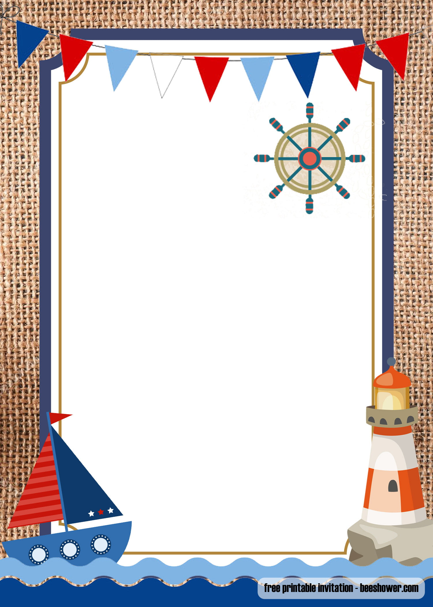 free nautical theme baby shower invitations templates  u2013 free printable birthday invitation