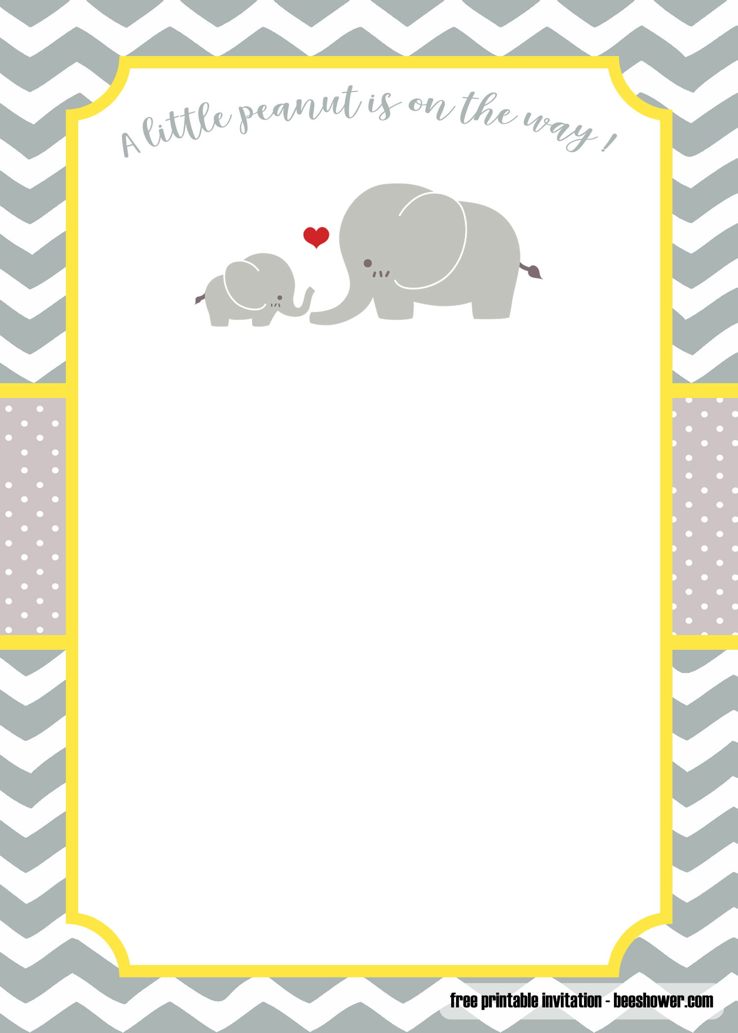 image regarding Free Printable Blank Baby Shower Invitations known as No cost Yellow and grey Minimal Peanut boy or girl shower invites