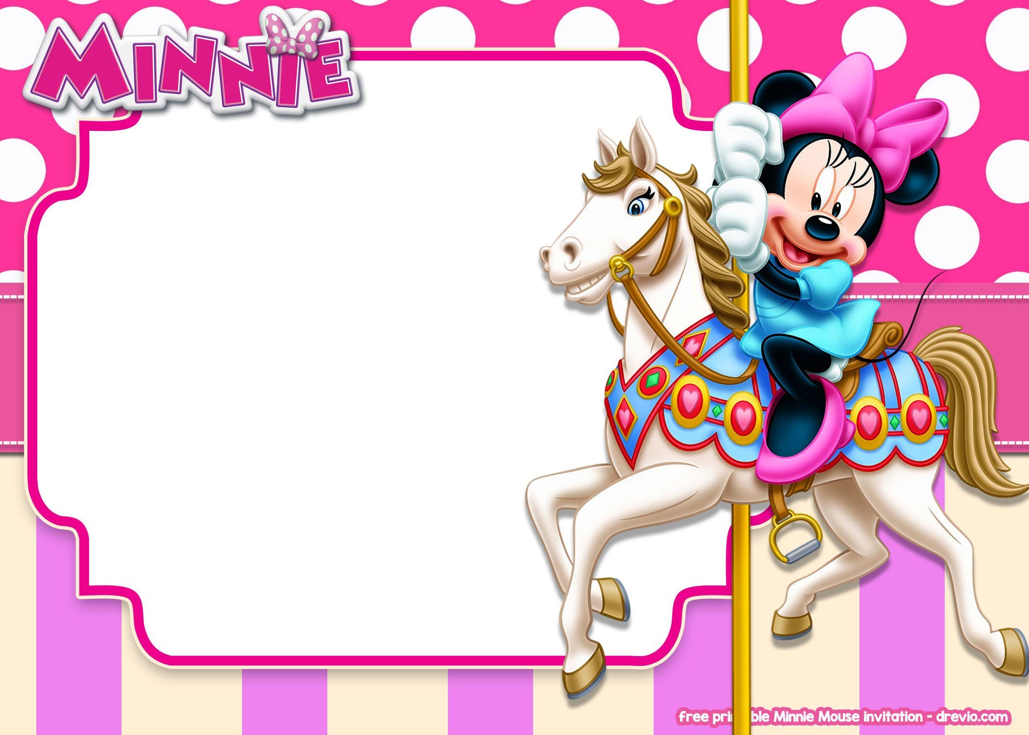 free printable minnie mouse pink invitation templates