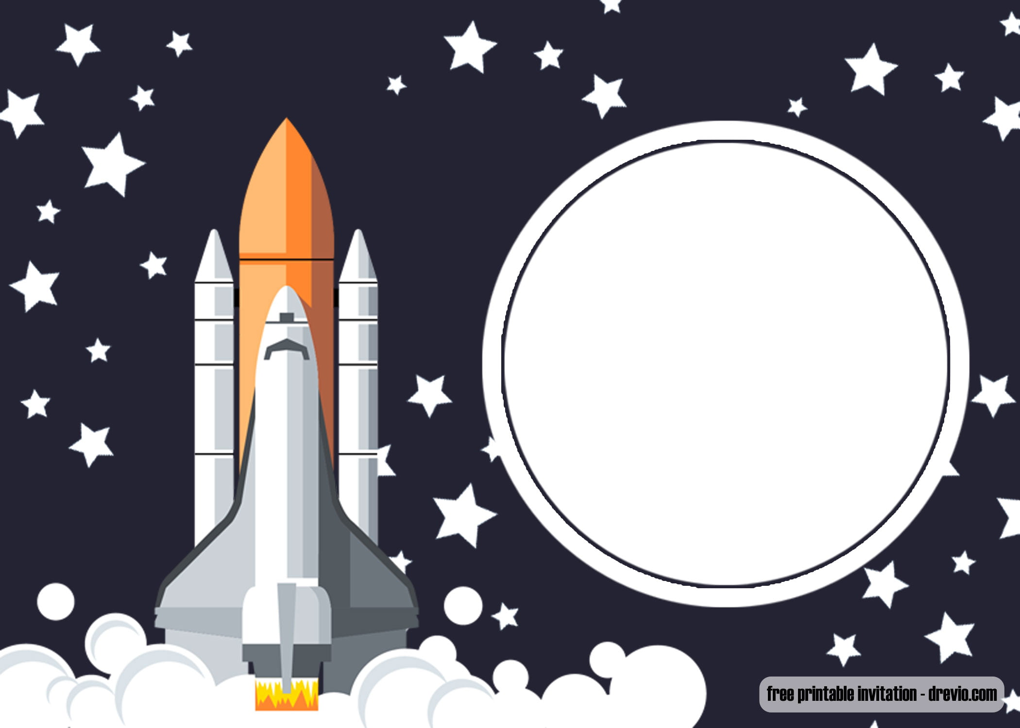 Free Printable Shuttle Space Birthday Invitation Templates