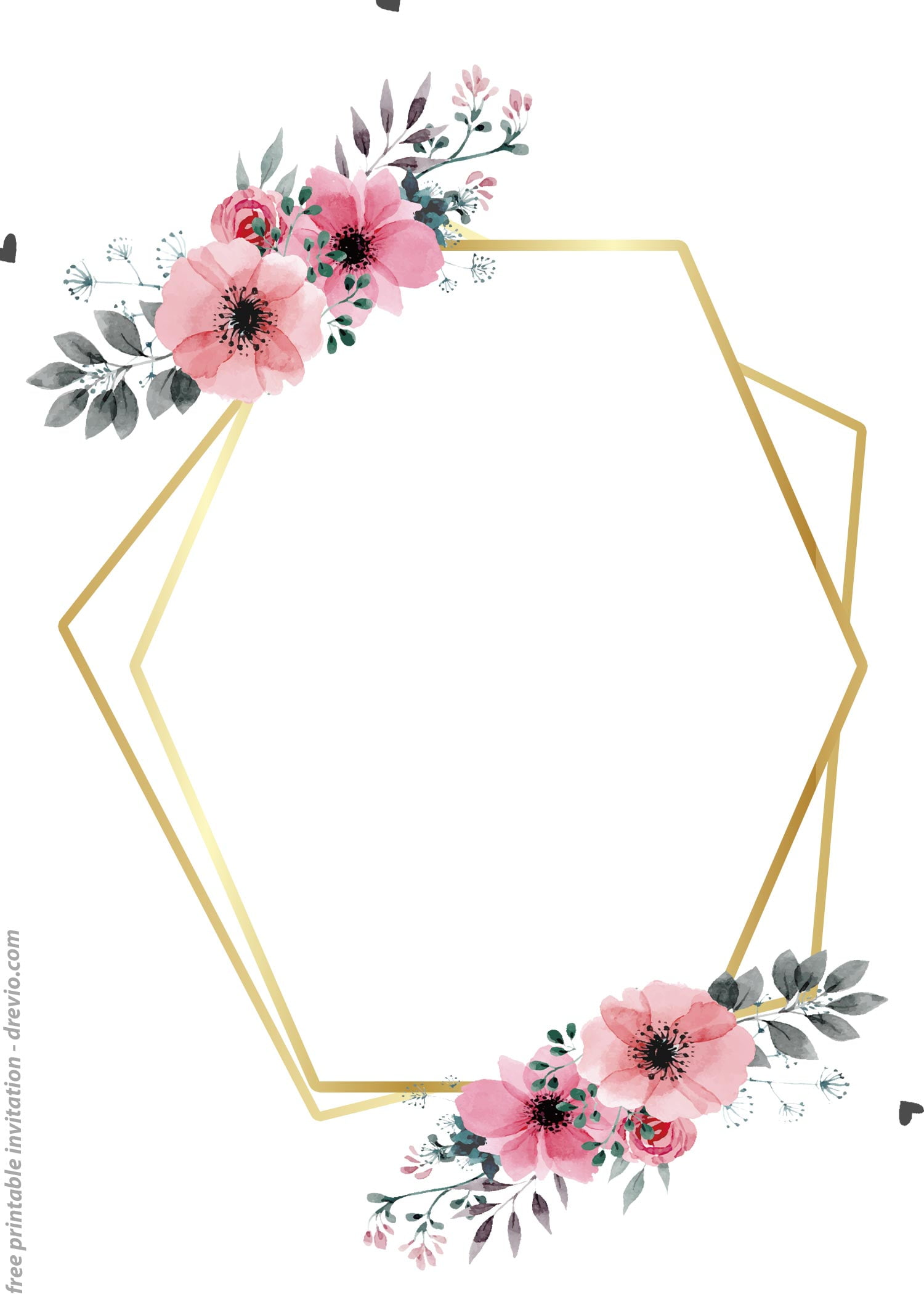 free printable golden floral frame invitation templates  u2013 bagvania