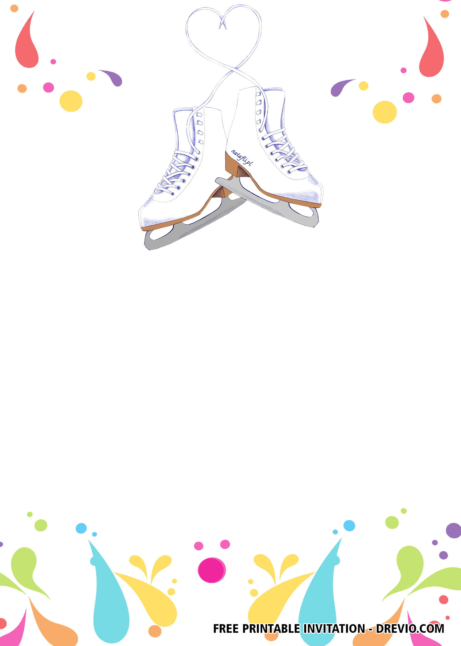 picture relating to Hockey Skate Template Free Printable named Absolutely free Ice Skating Invitation Templates Absolutely free Printable