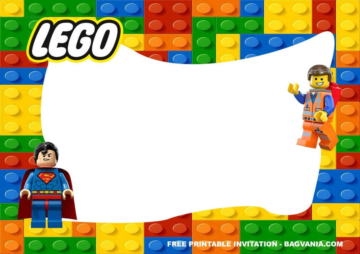 Free Printable Lego Superheroes Birthday Invitation Templates With Landscape Design and Space For Party Information
