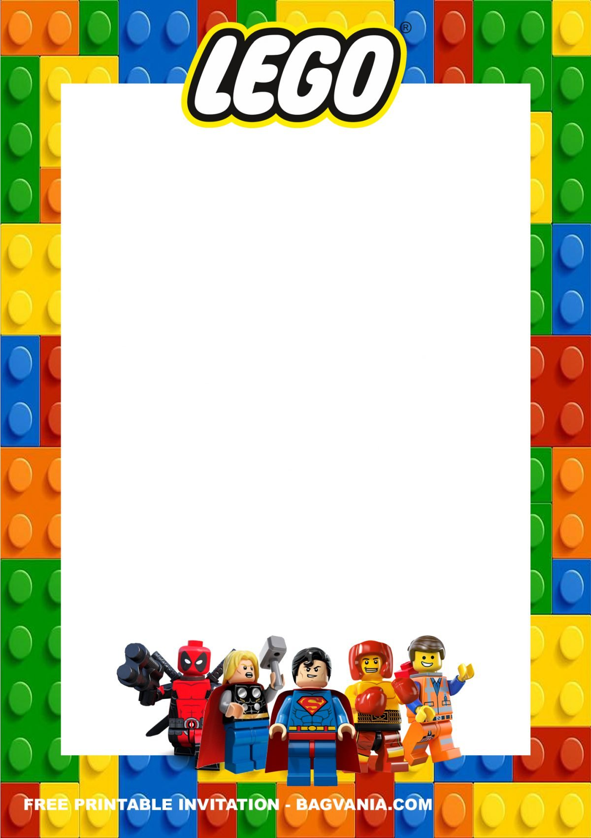 Free Printable Lego Superheroes Birthday Invitation Templates With Portrait Design and Rectangular Shape in White Color