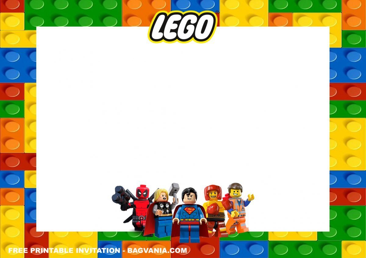 Free Printable Lego Superheroes Birthday Invitation Templates With Brick-style Background and Colorful Design