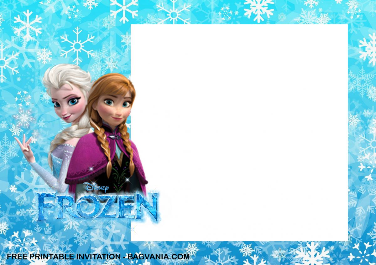 Free Printable Anna and Elsa Frozen Birthday Invitation Templates With Anna and Elsa Picture