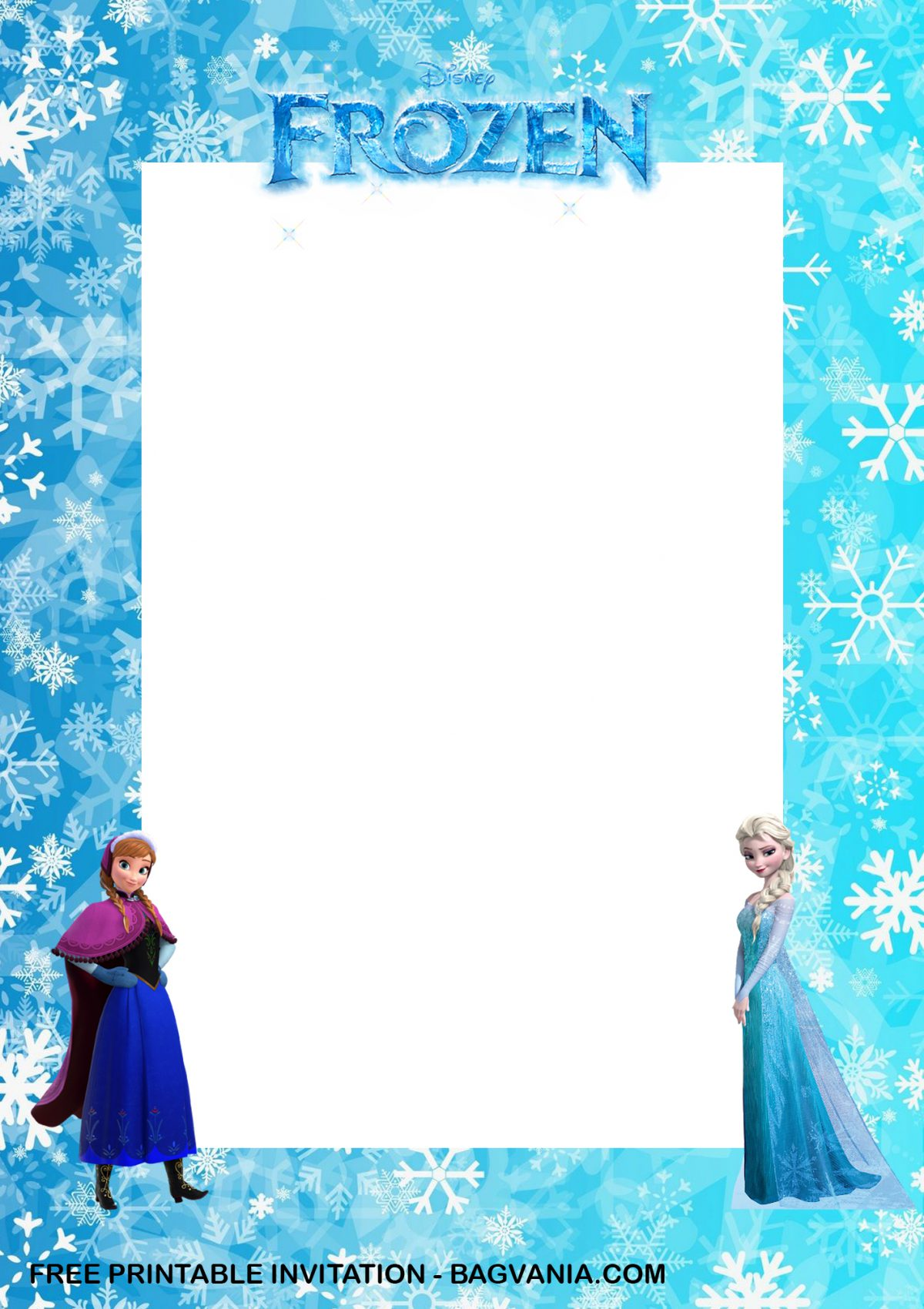 Free Printable Anna and Elsa Frozen Birthday Invitation Templates With Portrait Orientation