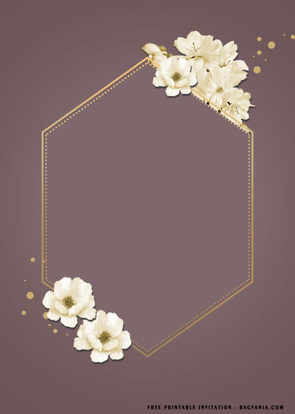 Free Printable Cherry Blossom Baby Shower Invitation Templates With Gold Text Frame
