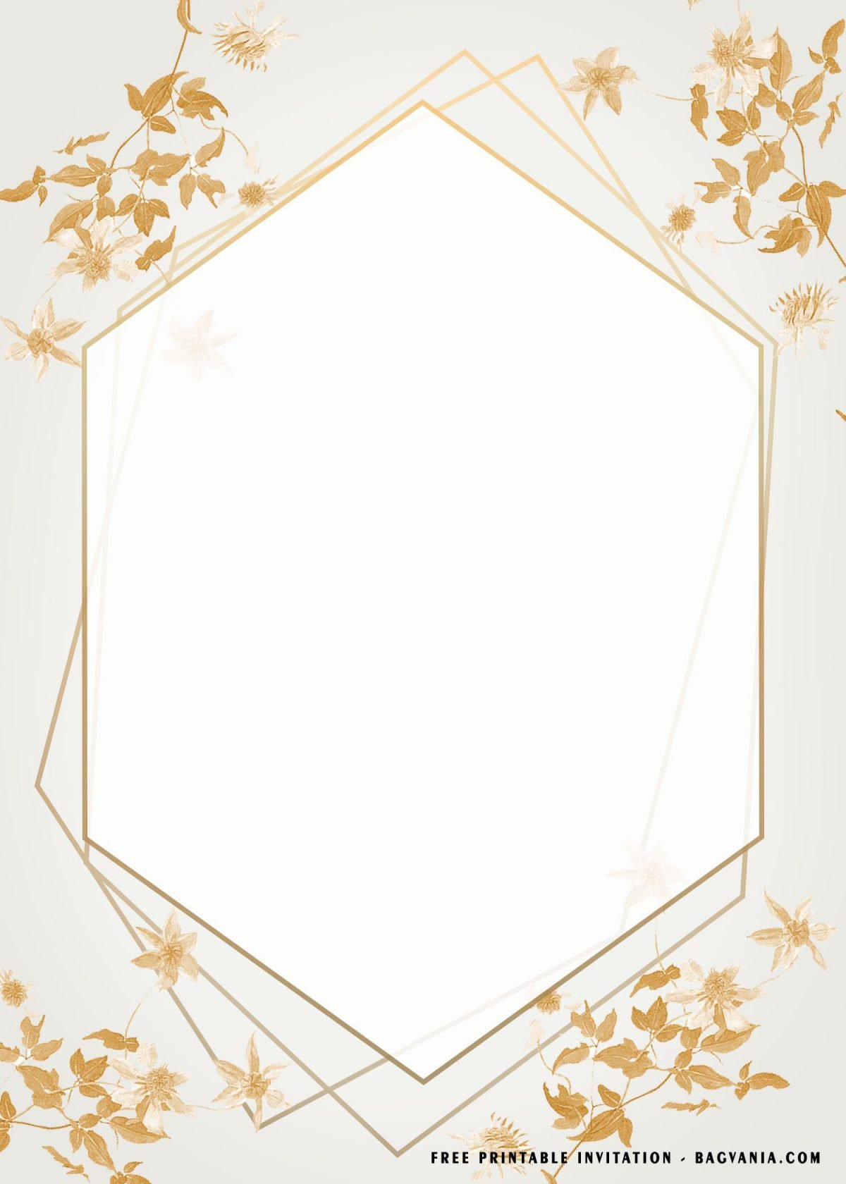 Free Printable Glitter Floral Baby Shower Invitation Templates With Geometrical Frame Design
