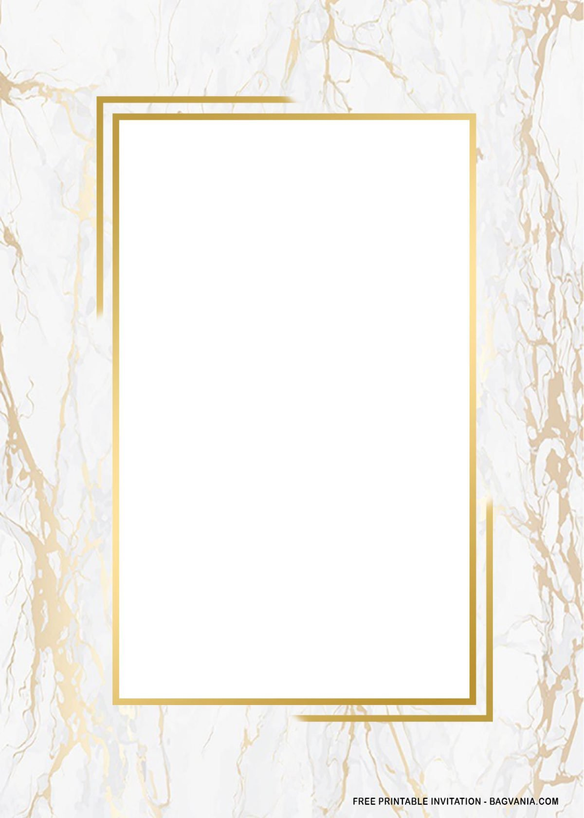 Free Printable Rectangle Gold Marble Baby Shower Invitation Templates With Gold Rectangle Frame
