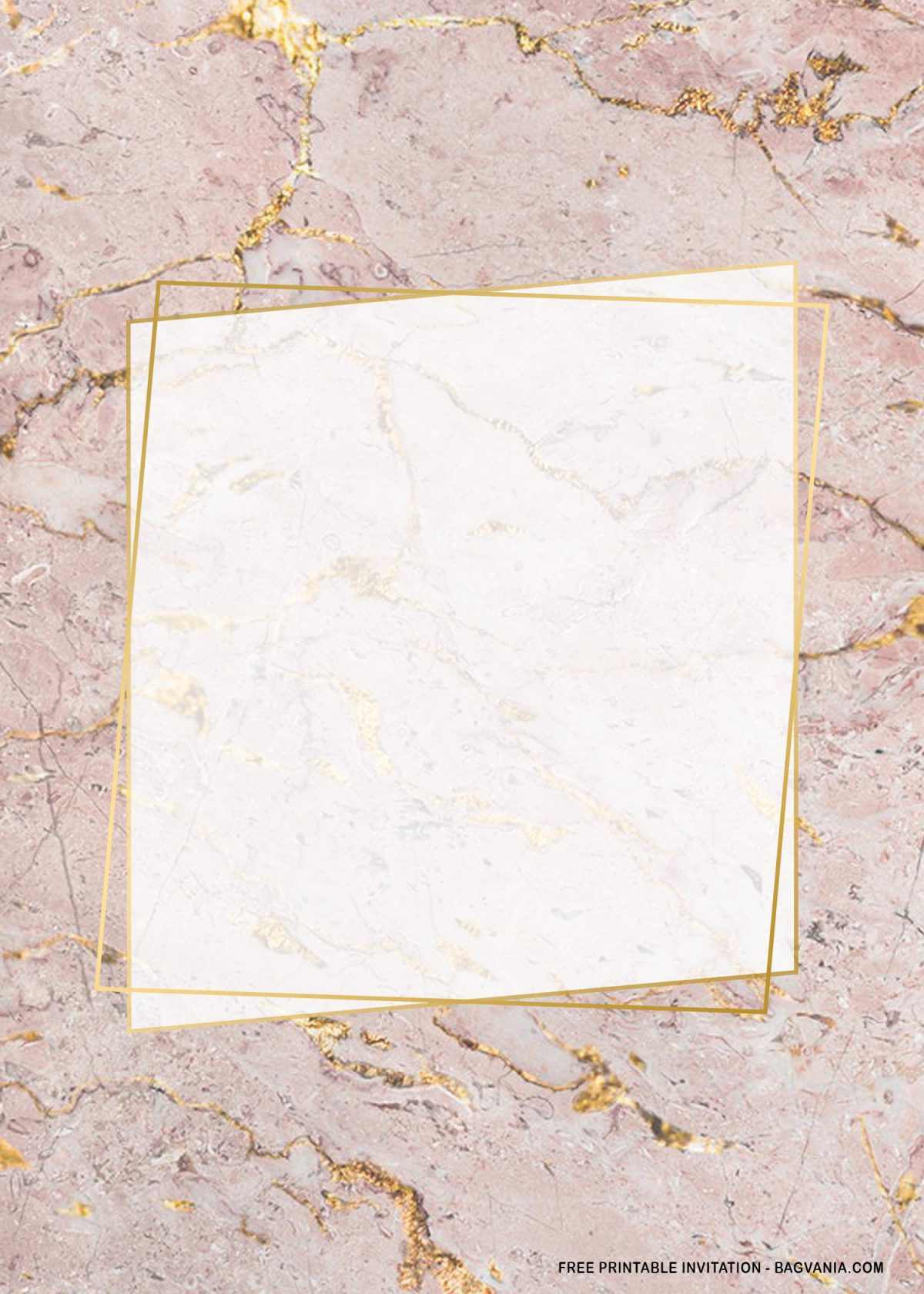 Free Printable Rectangle Gold Marble Baby Shower Invitation Templates With Pink Marble Background