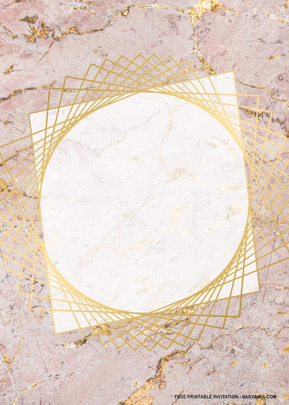 Free Printable Rectangle Gold Marble Baby Shower Invitation Templates With