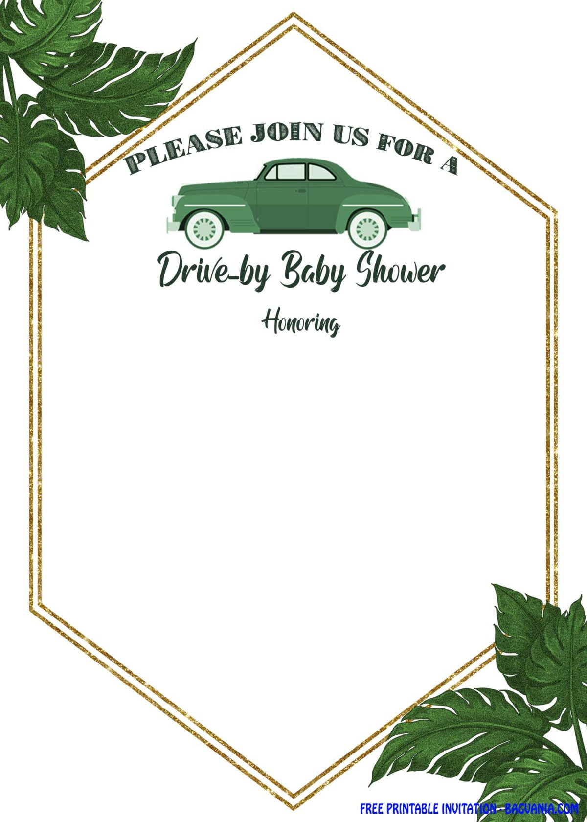 Free Printable Greenery Hexagonal Drive By Invitation Templates With