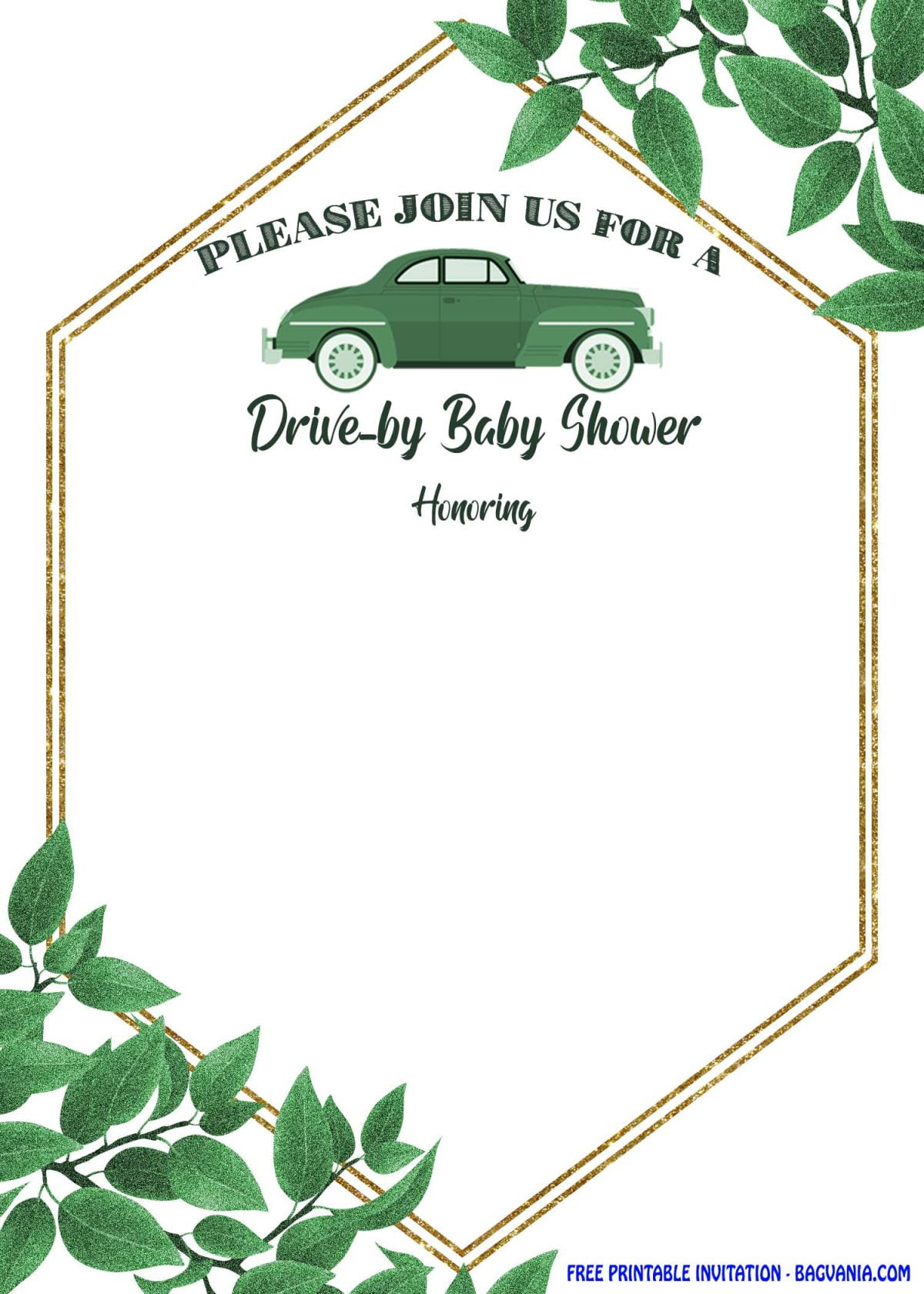 Free Printable Greenery Hexagonal Drive By Invitation Templates With Green Leaf