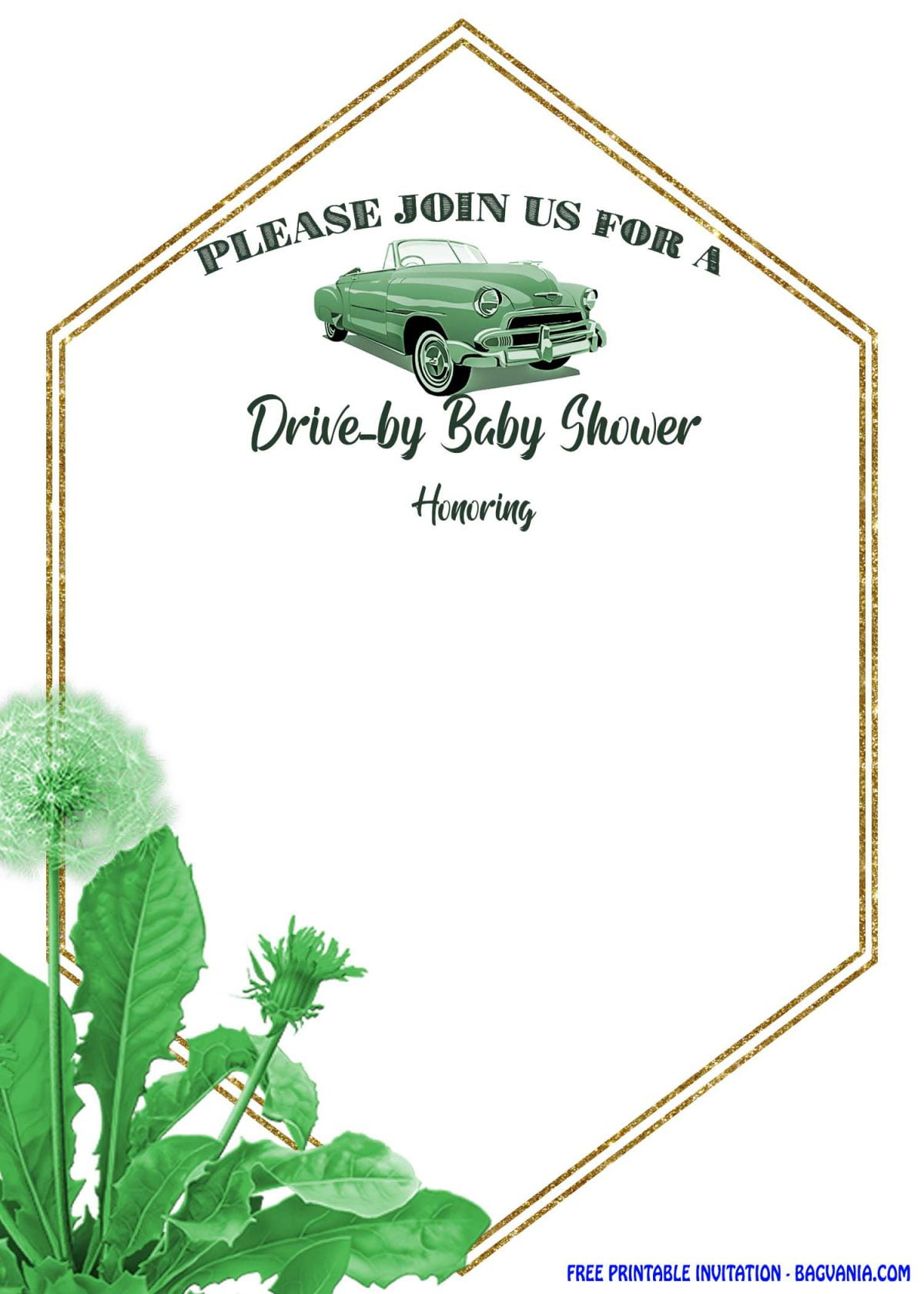Free Printable Greenery Hexagonal Drive By Invitation Templates With Gold Text Frame