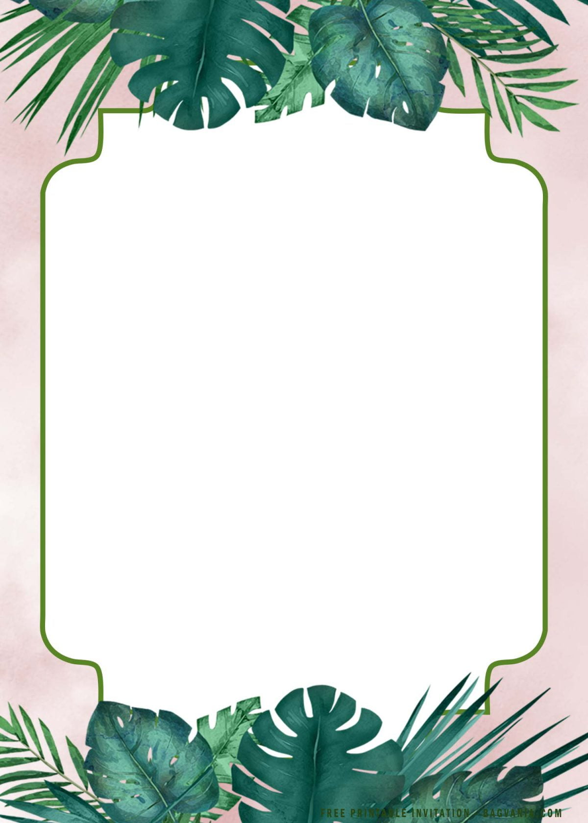 Free Printable Watercolor Greenery Blush Invitation Templates With Tropical Palm Leaves