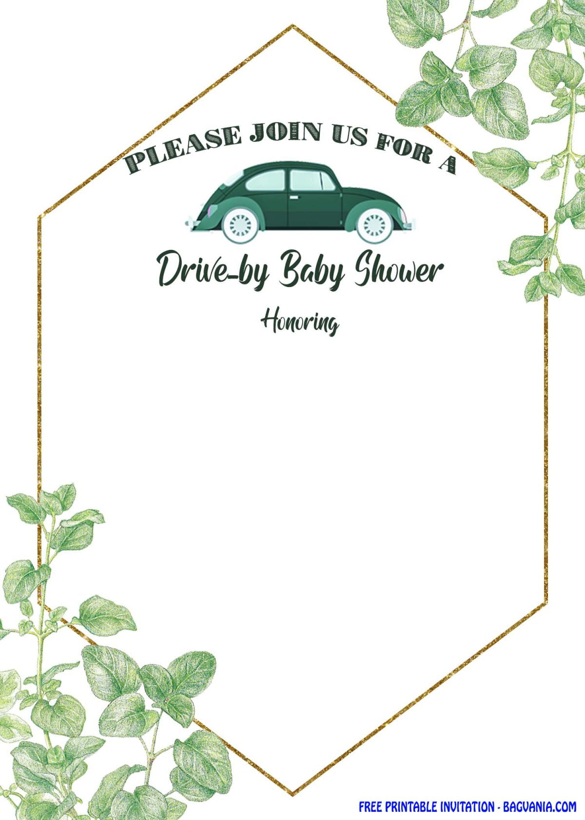 Free Printable Greenery Hexagonal Drive By Invitation Templates With Portrait Orientation Cards