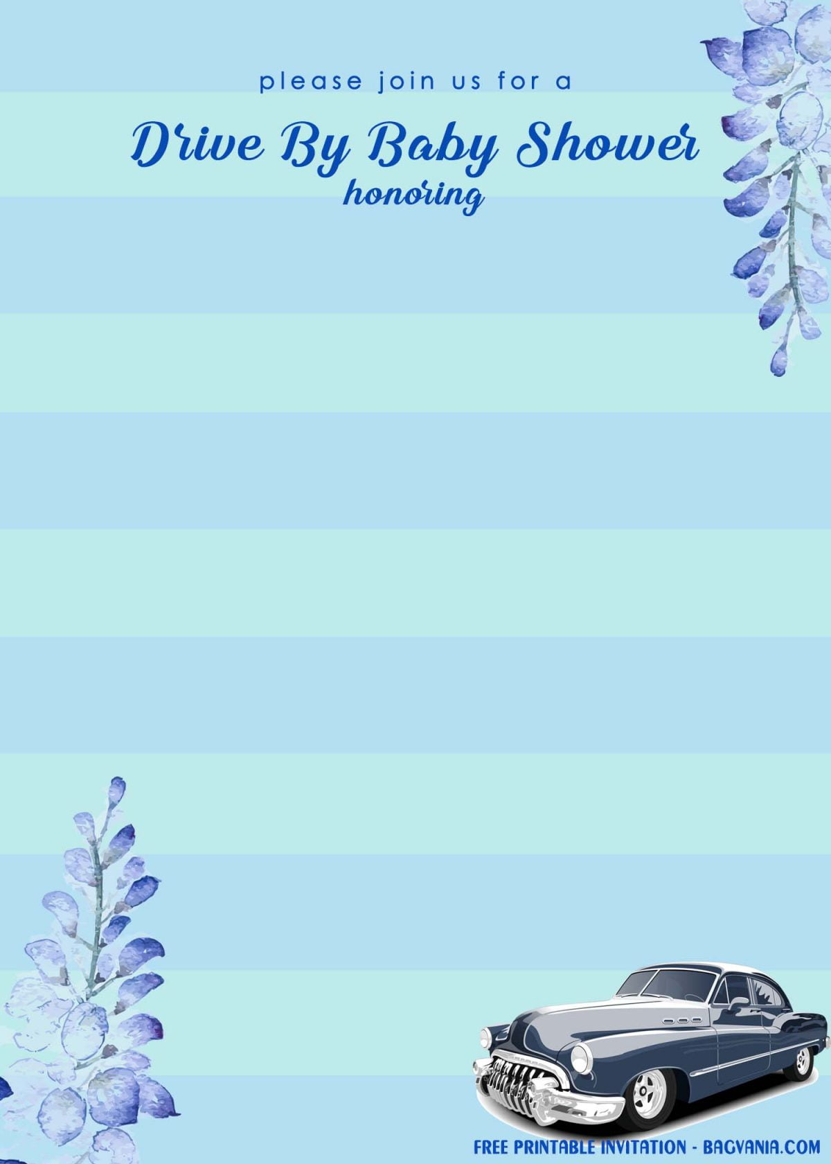 Free Printable Blue Stripes Drive By Baby Shower Invitation Templates With Blue Eucalyptus