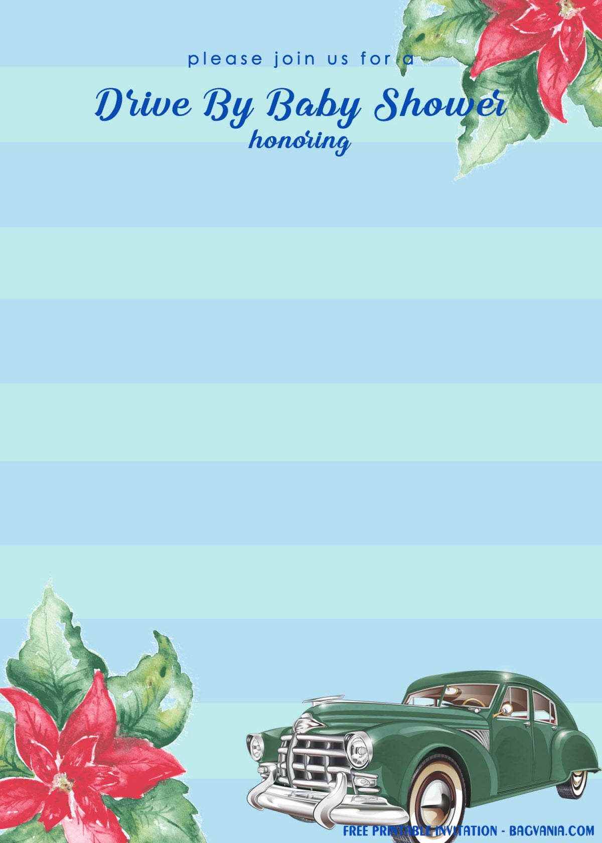 Free Printable Blue Stripes Drive By Baby Shower Invitation Templates With Green Foliage