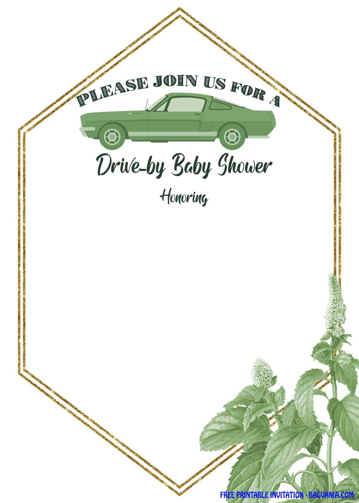 Free Printable Greenery Hexagonal Drive By Invitation Templates With Classic Car Image