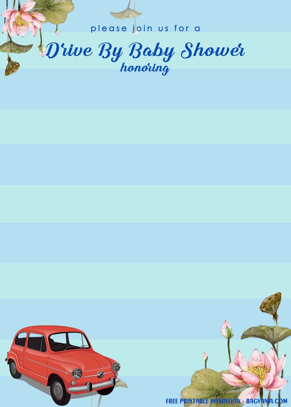 Free Printable Blue Stripes Drive By Baby Shower Invitation Templates With Retro Car Image