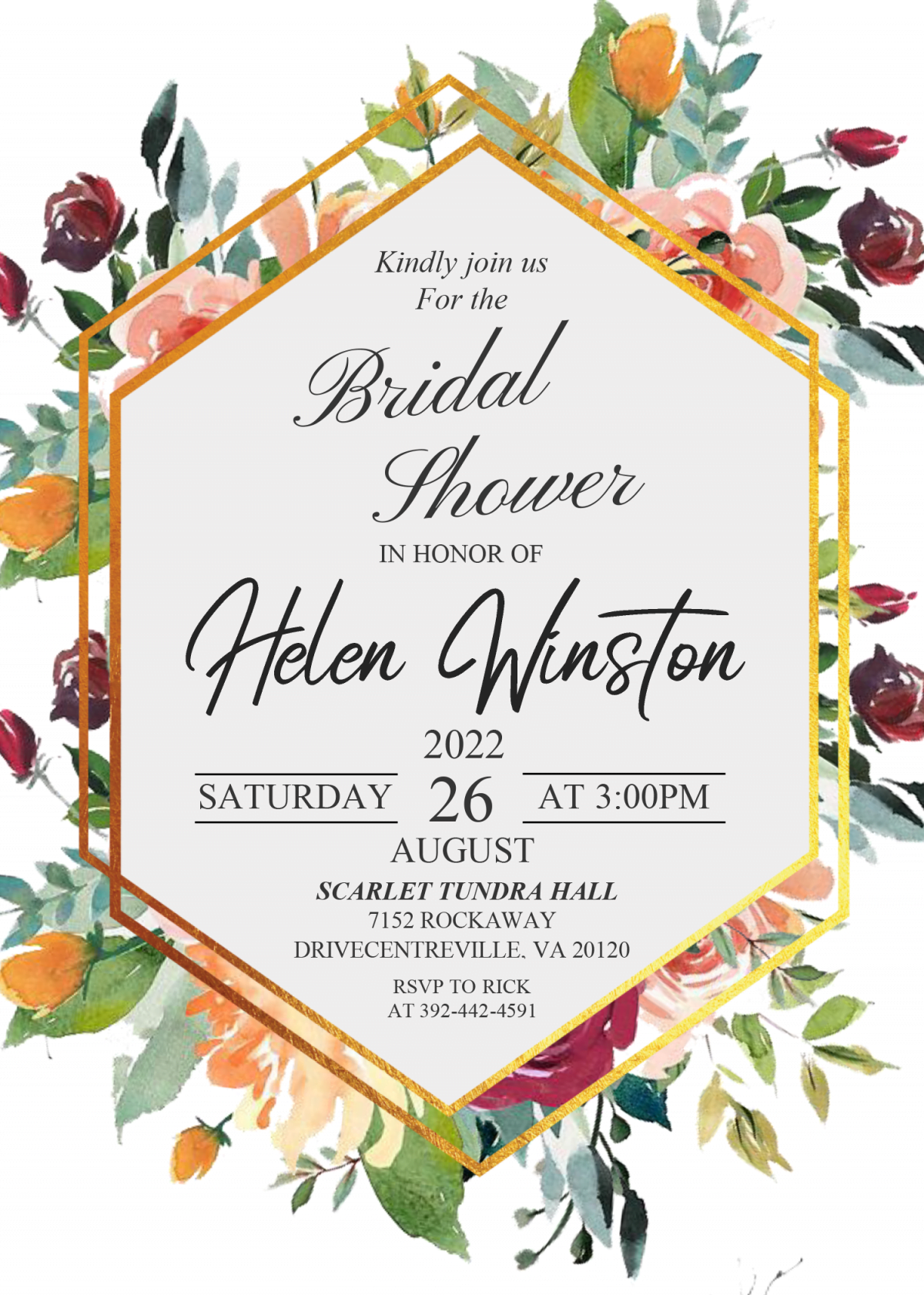 Modern Floral Invitation Templates - Editable .DOCX and has watercolor floral painting