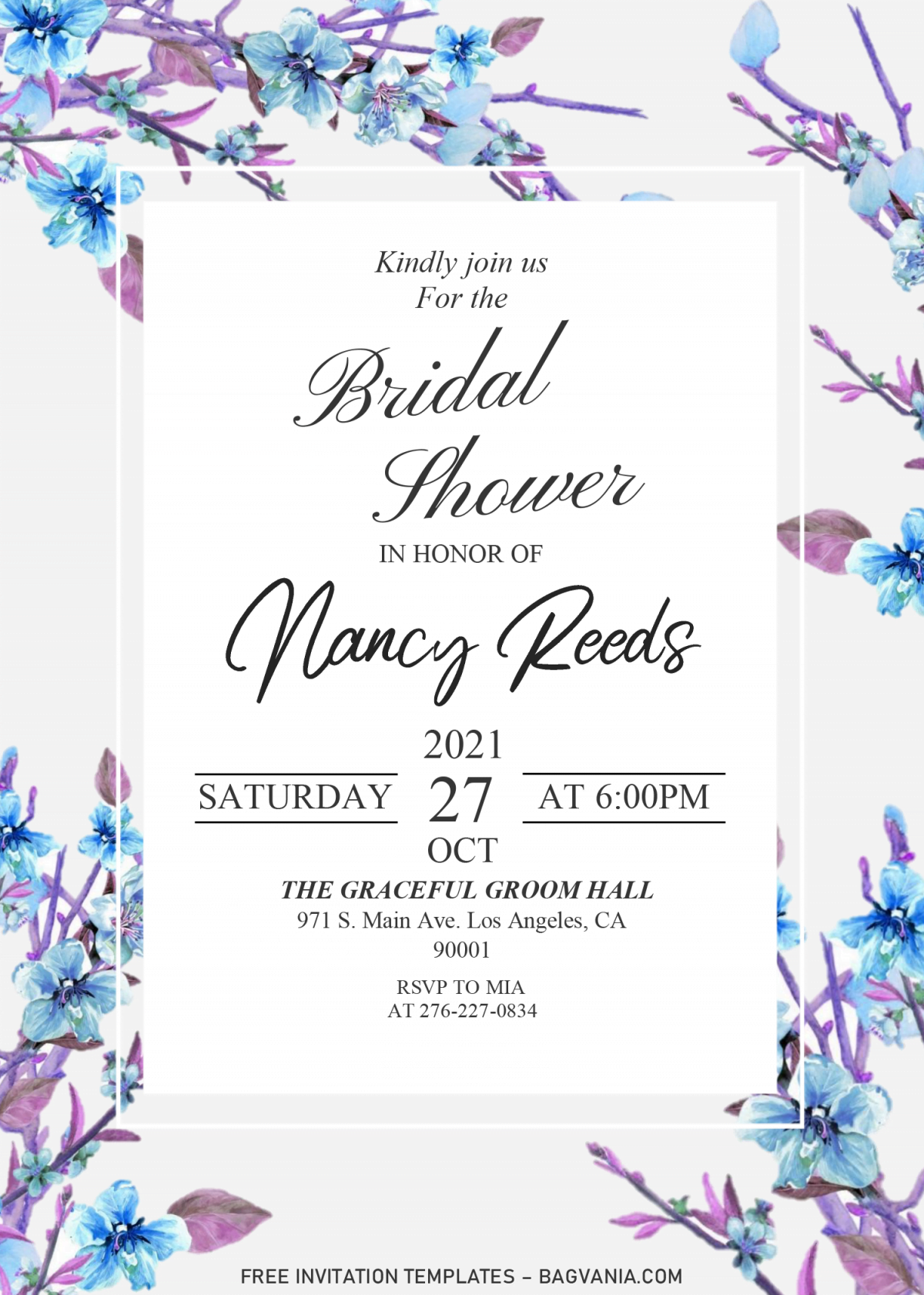 Modern Floral Invitation Templates - Editable .DOCX and has aesthetic fonts