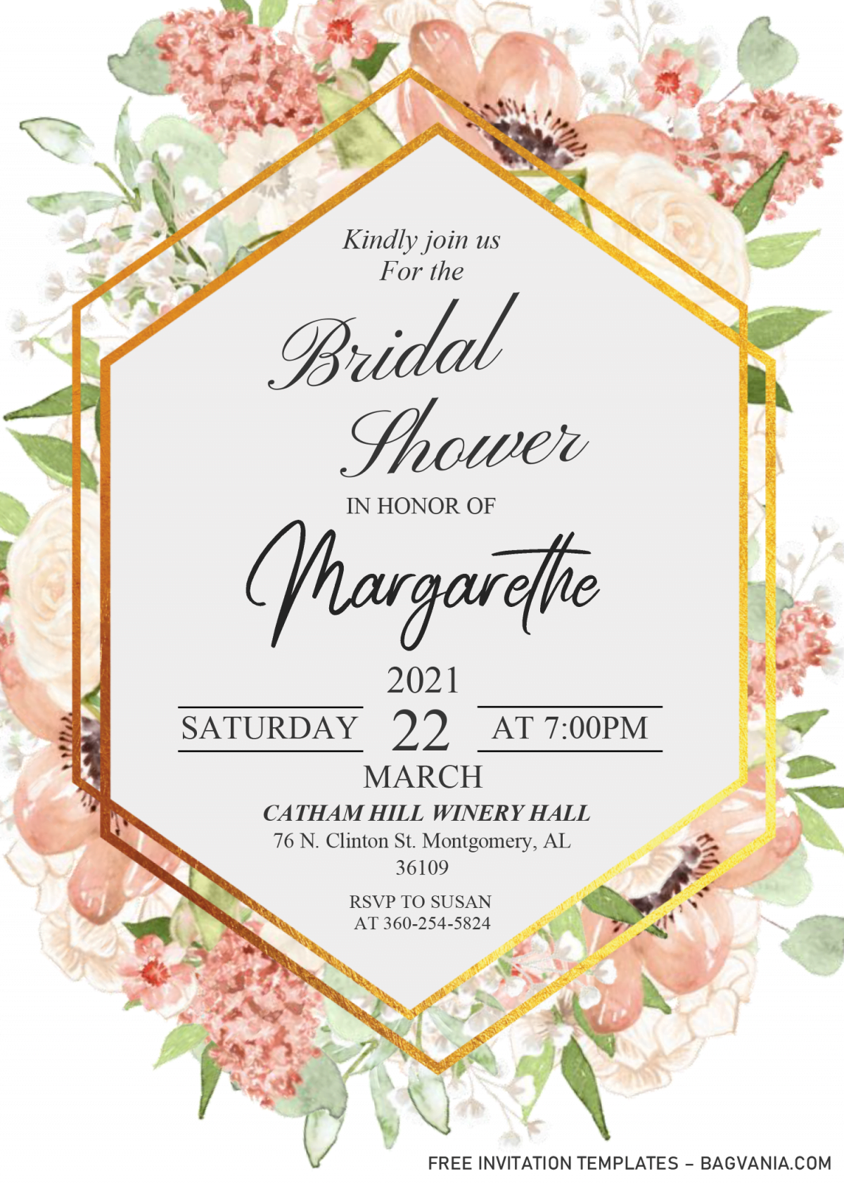 Modern Floral Invitation Templates - Editable .DOCX and has gold frame