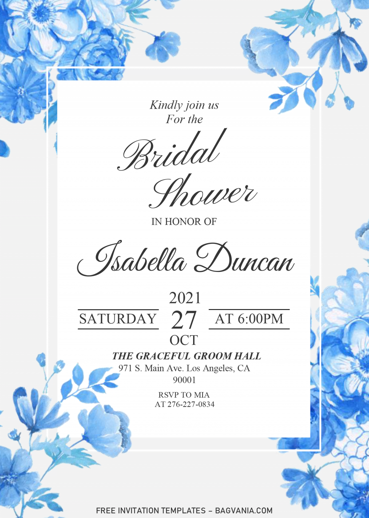 Modern Floral Invitation Templates - Editable .DOCX and has rectangle frame