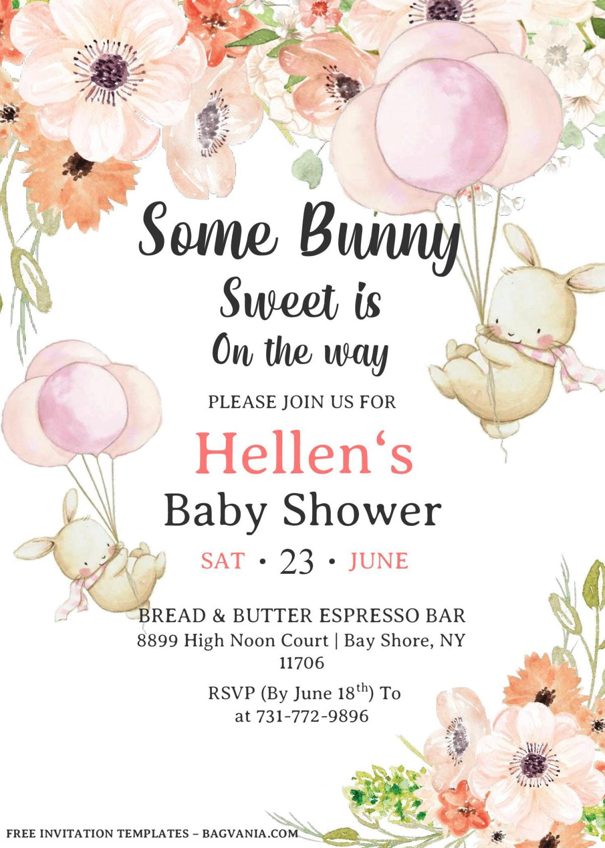 Some Bunny Invitation Templates - Editable With MS Word and has portrait orientation