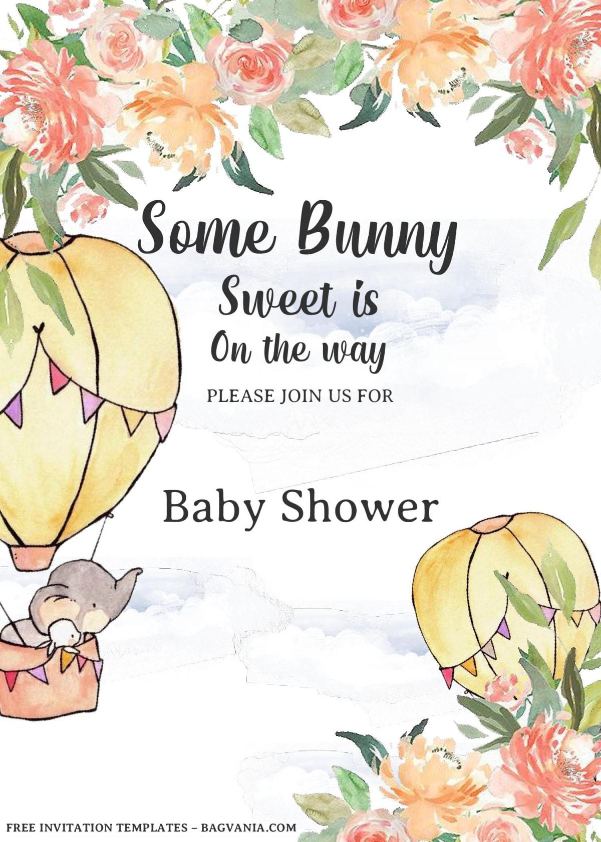 Some Bunny Invitation Templates - Editable With MS Word and has hot air balloons