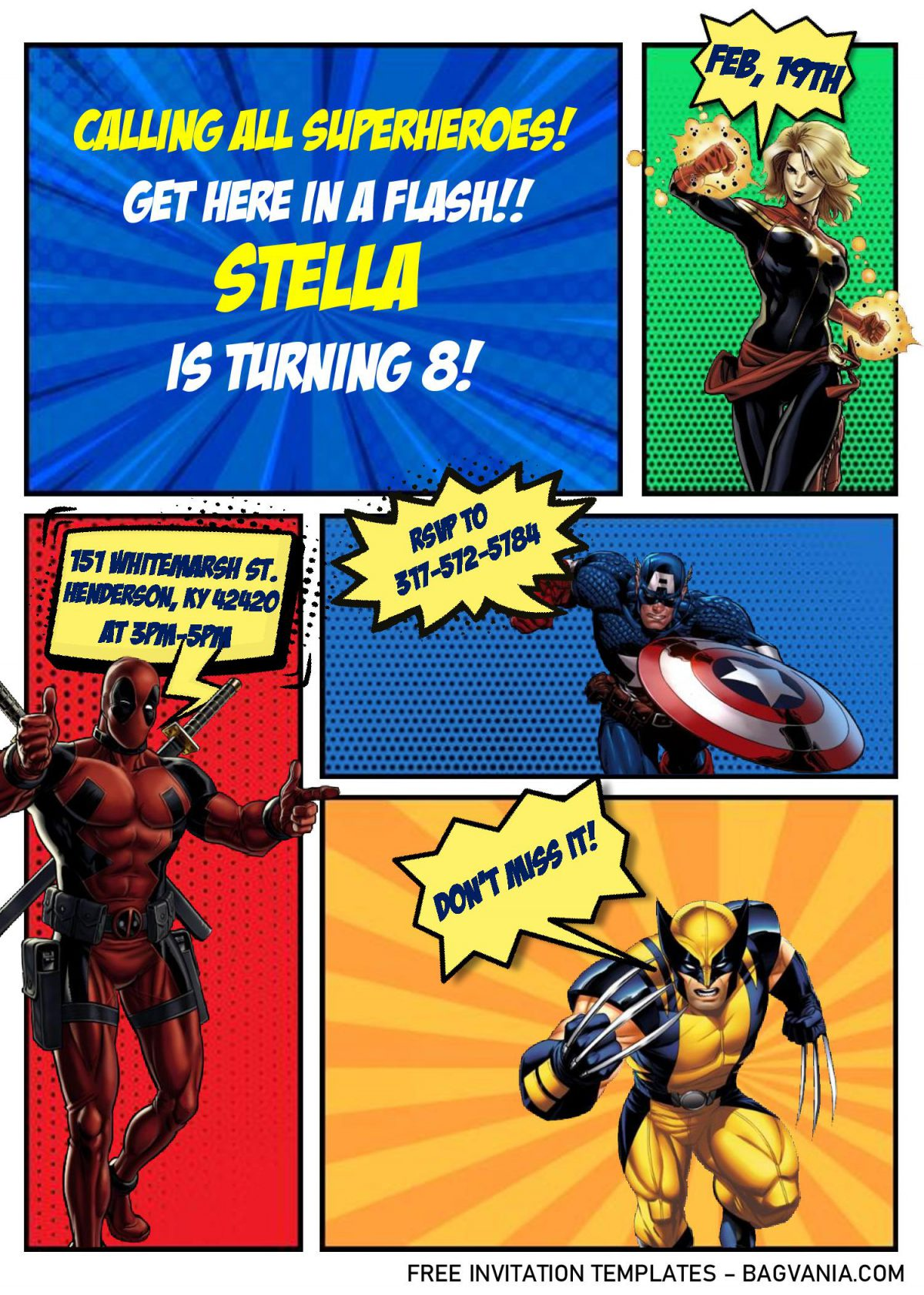 Superhero Comic Invitation Templates - Editable With MS Word