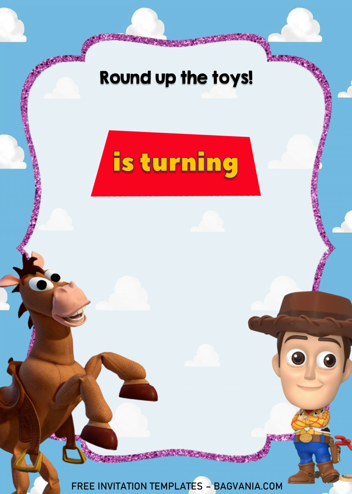 Toy Story Invitation Templates - Editable With MS Word and has transparent text frame