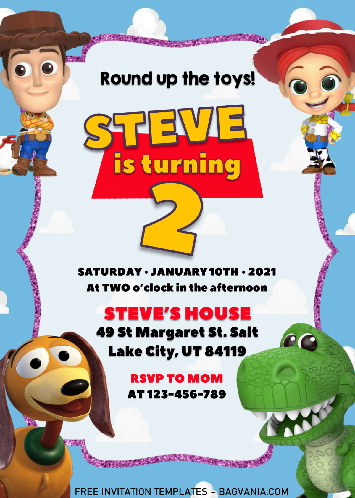 Toy Story Invitation Templates - Editable With MS Word and has blue background
