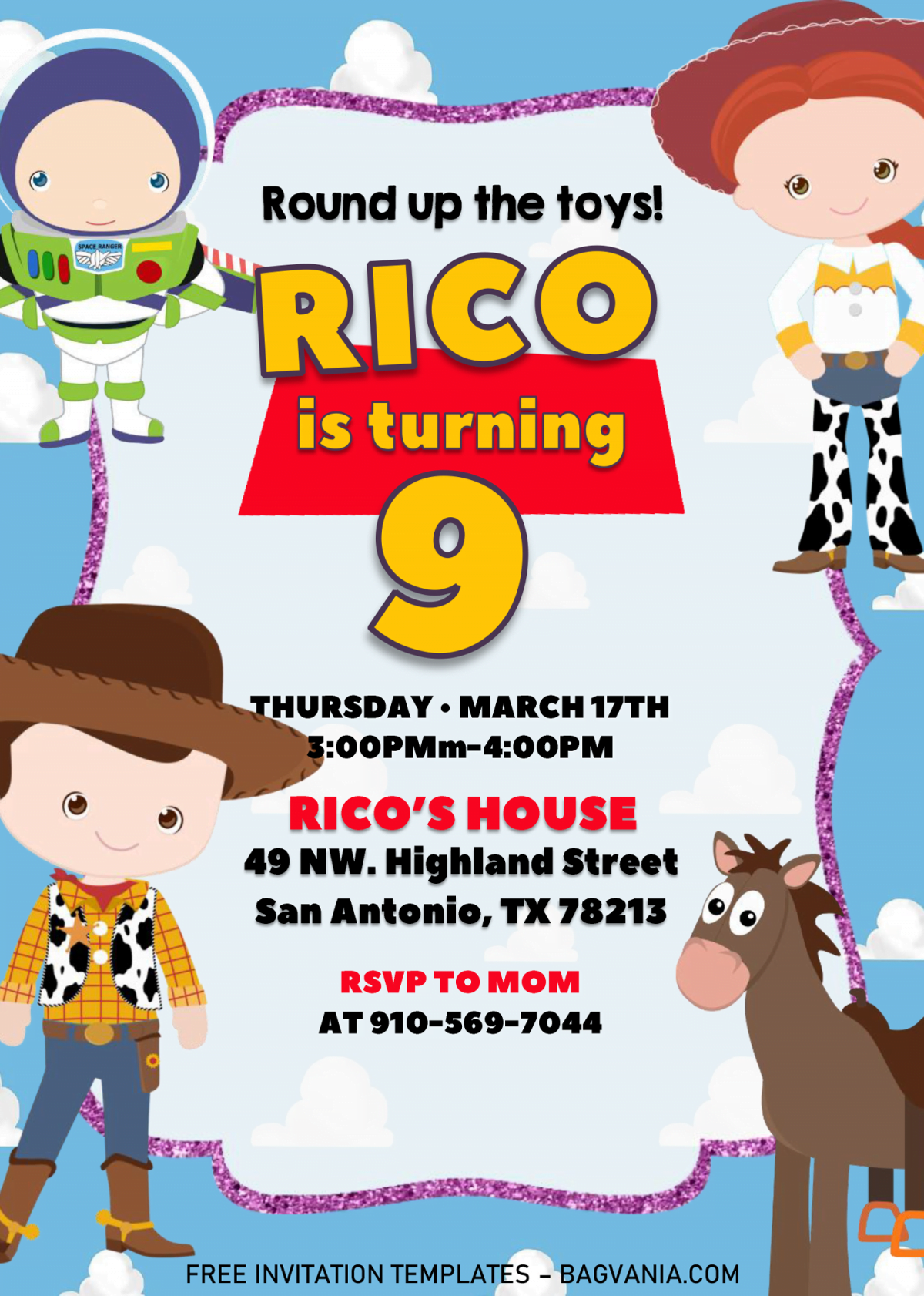Toy Story Invitation Templates - Editable With MS Word and has portrait orientation