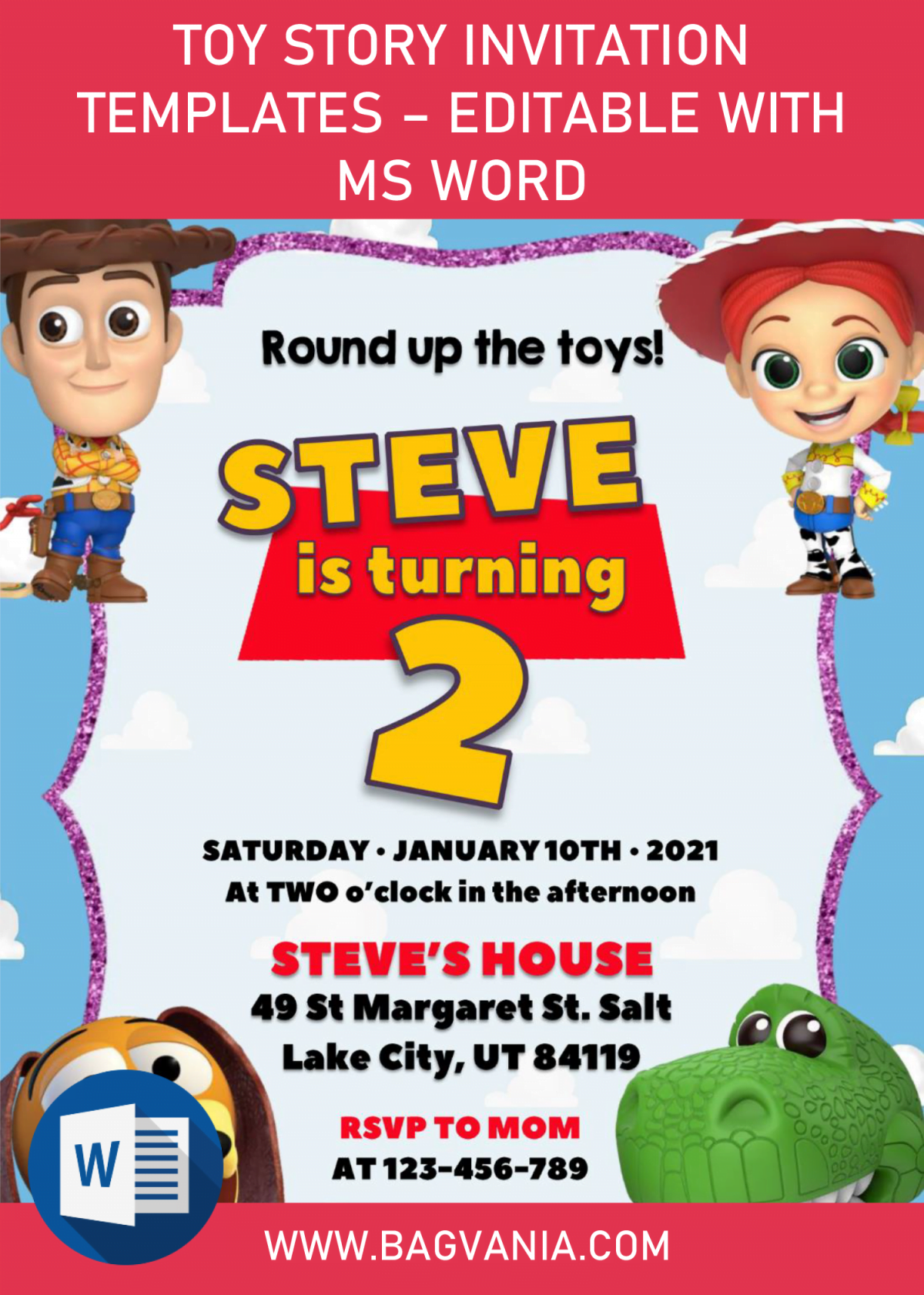 Toy Story Invitation Templates - Editable With MS Word