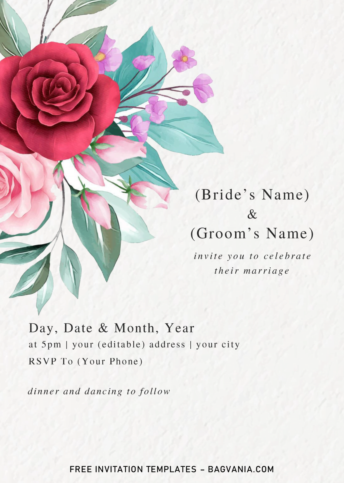 Floral And Greenery Invitation Templates - Editable With Microsoft Word and has red roses