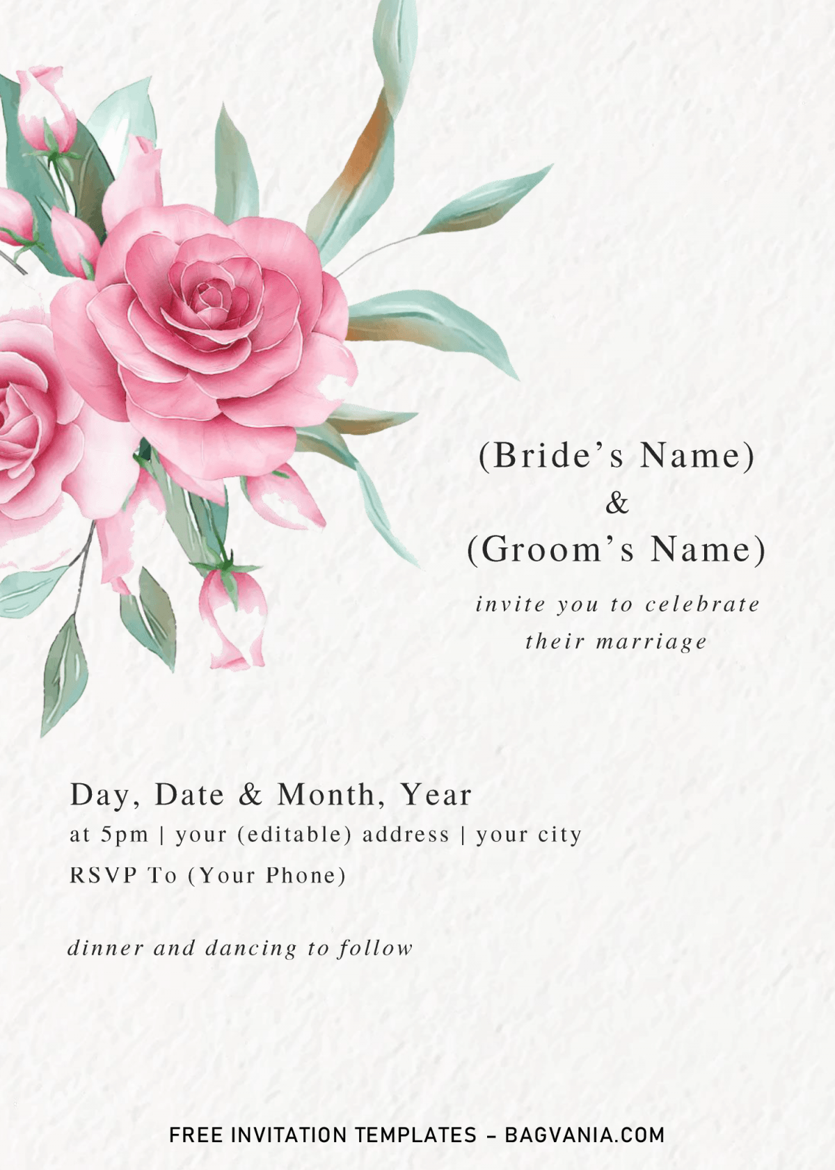 Floral And Greenery Invitation Templates - Editable With Microsoft Word and has canvas style background