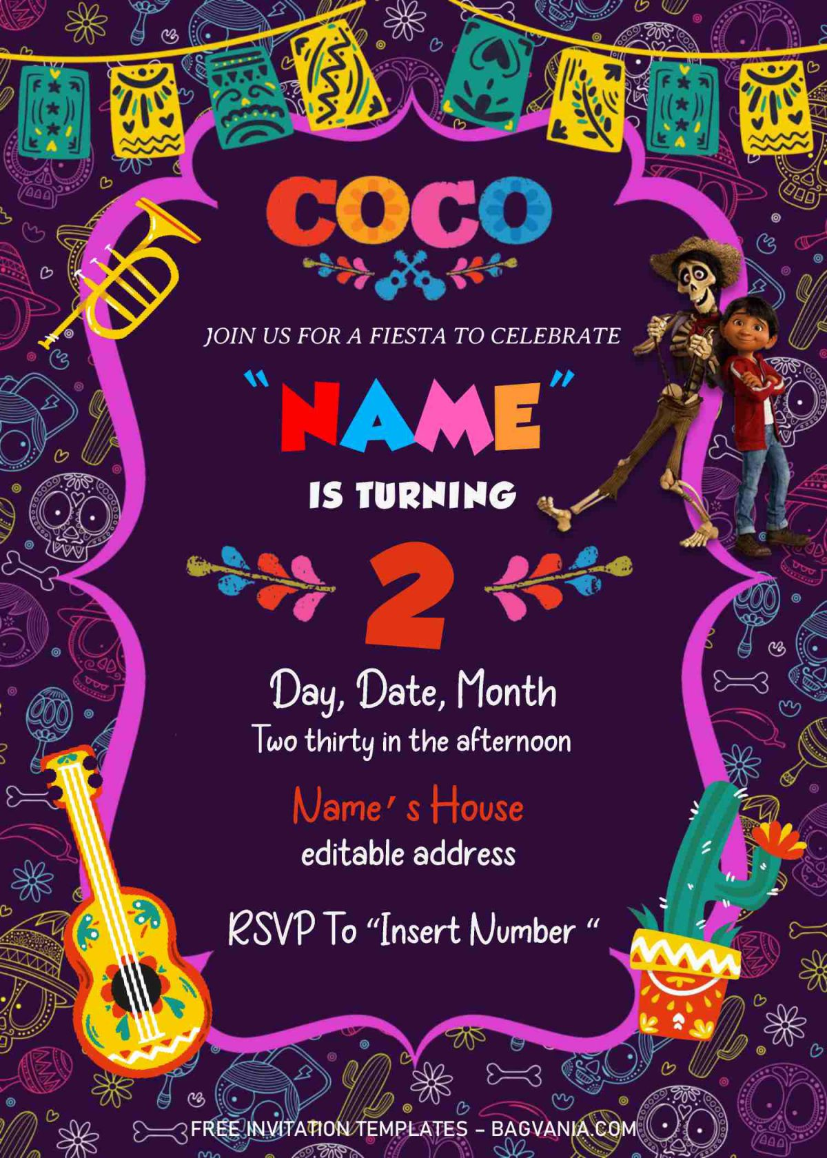 Coco Pixar Birthday Invitation Templates - Editable With MS Word and has portrait orientation