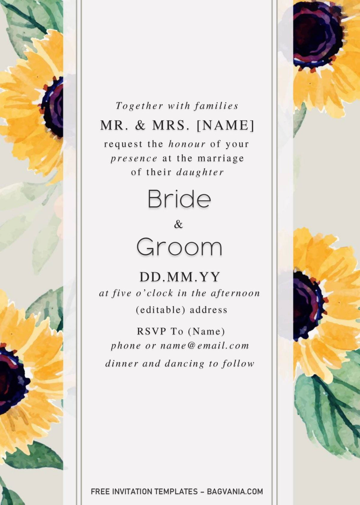 Sunflower Wedding Invitation Templates - Editable With Microsoft Word and has