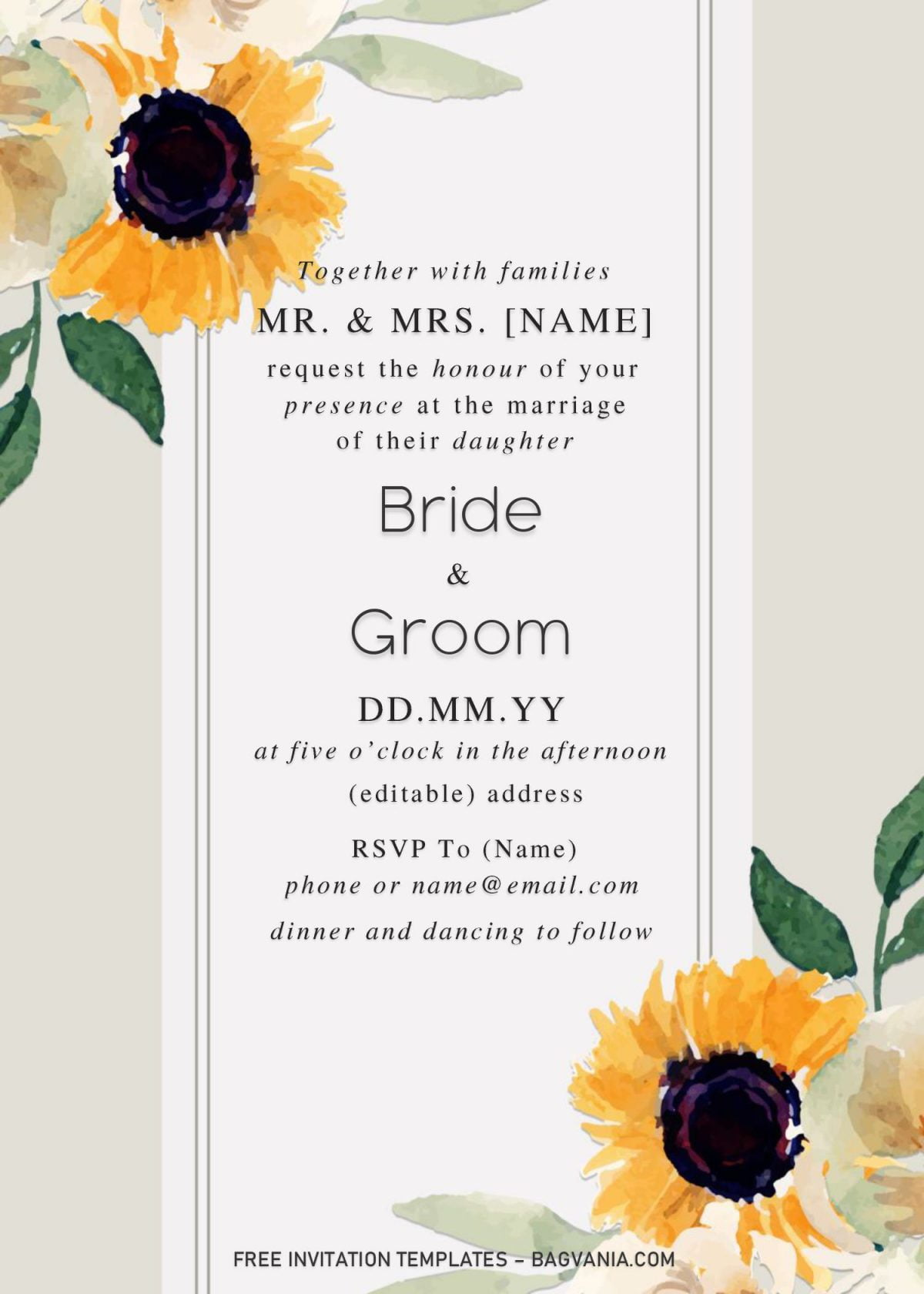 Sunflower Wedding Invitation Templates - Editable With Microsoft Word and has watercolor sunflowers