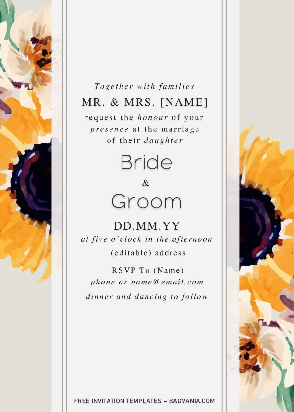 Sunflower Wedding Invitation Templates - Editable With Microsoft Word and has two tone design