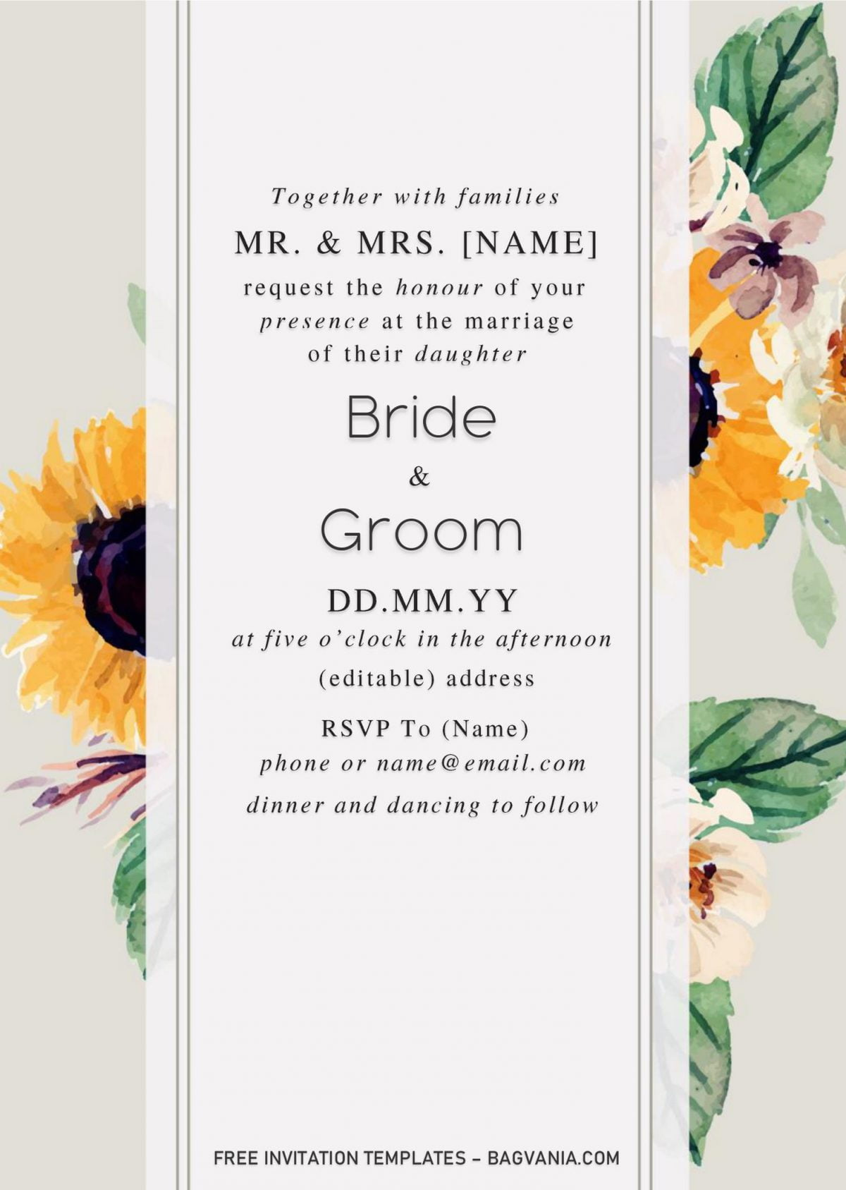 Sunflower Wedding Invitation Templates - Editable With Microsoft Word and has minimalist design