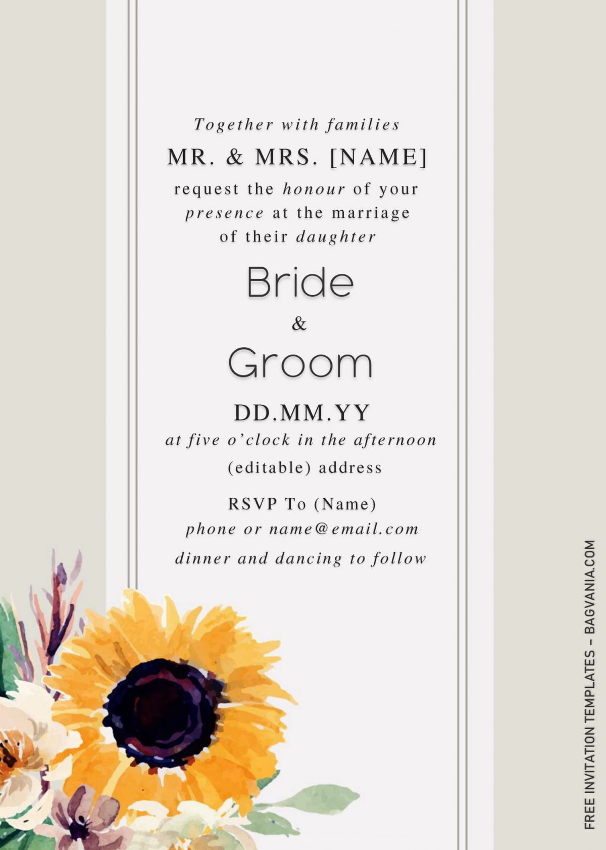 Sunflower Wedding Invitation Templates - Editable With Microsoft Word and has bright yellow sunflowers