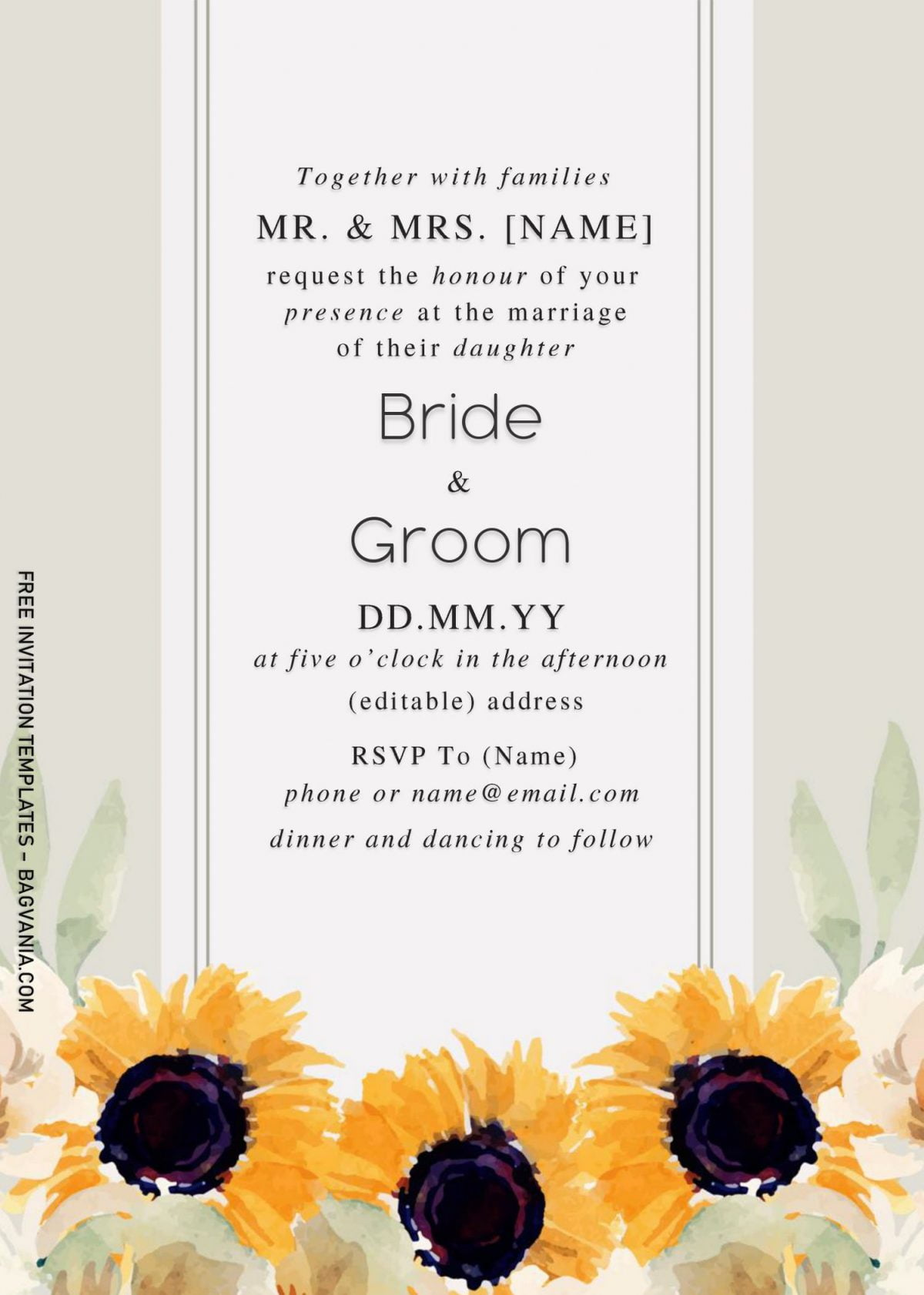 Sunflower Wedding Invitation Templates - Editable With Microsoft Word and has portrait design