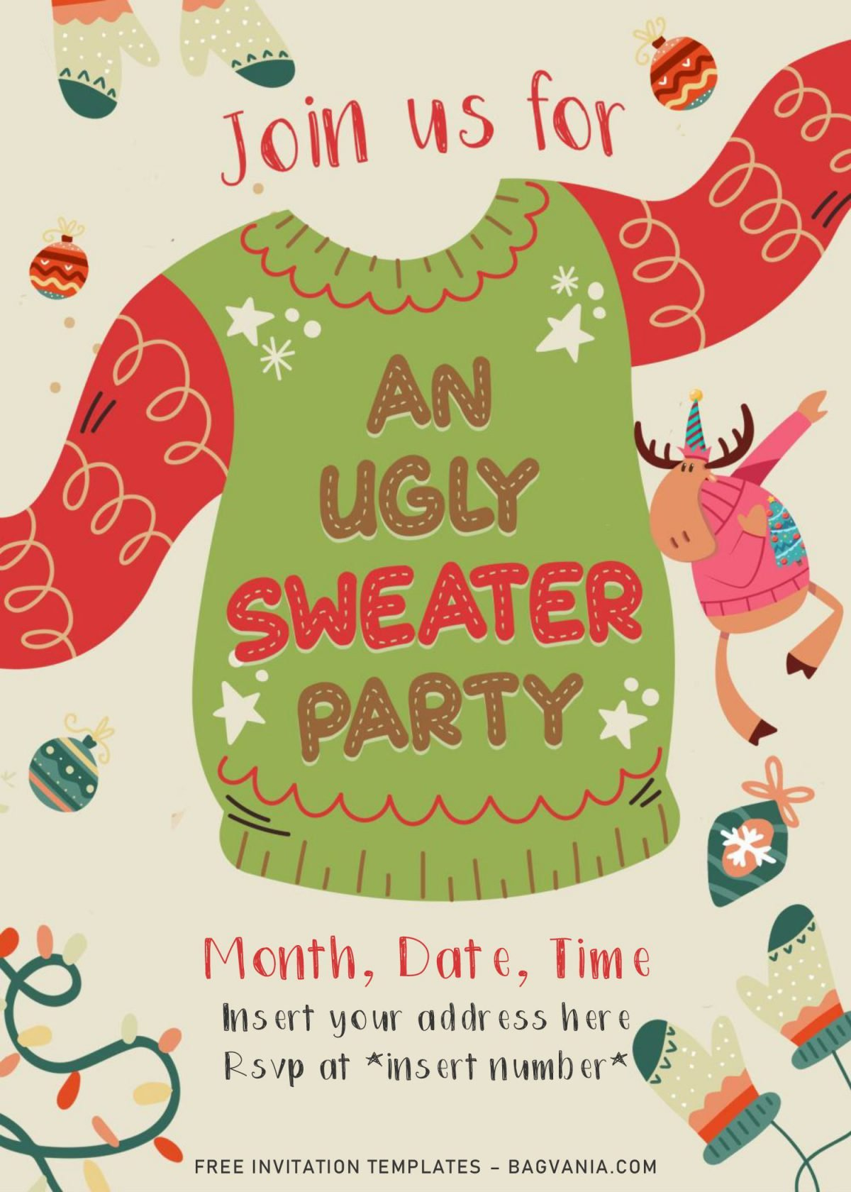 Free Winter Ugly Sweater Birthday Party Invitation Templates For Word and has dabbing deer and Christmas ornaments