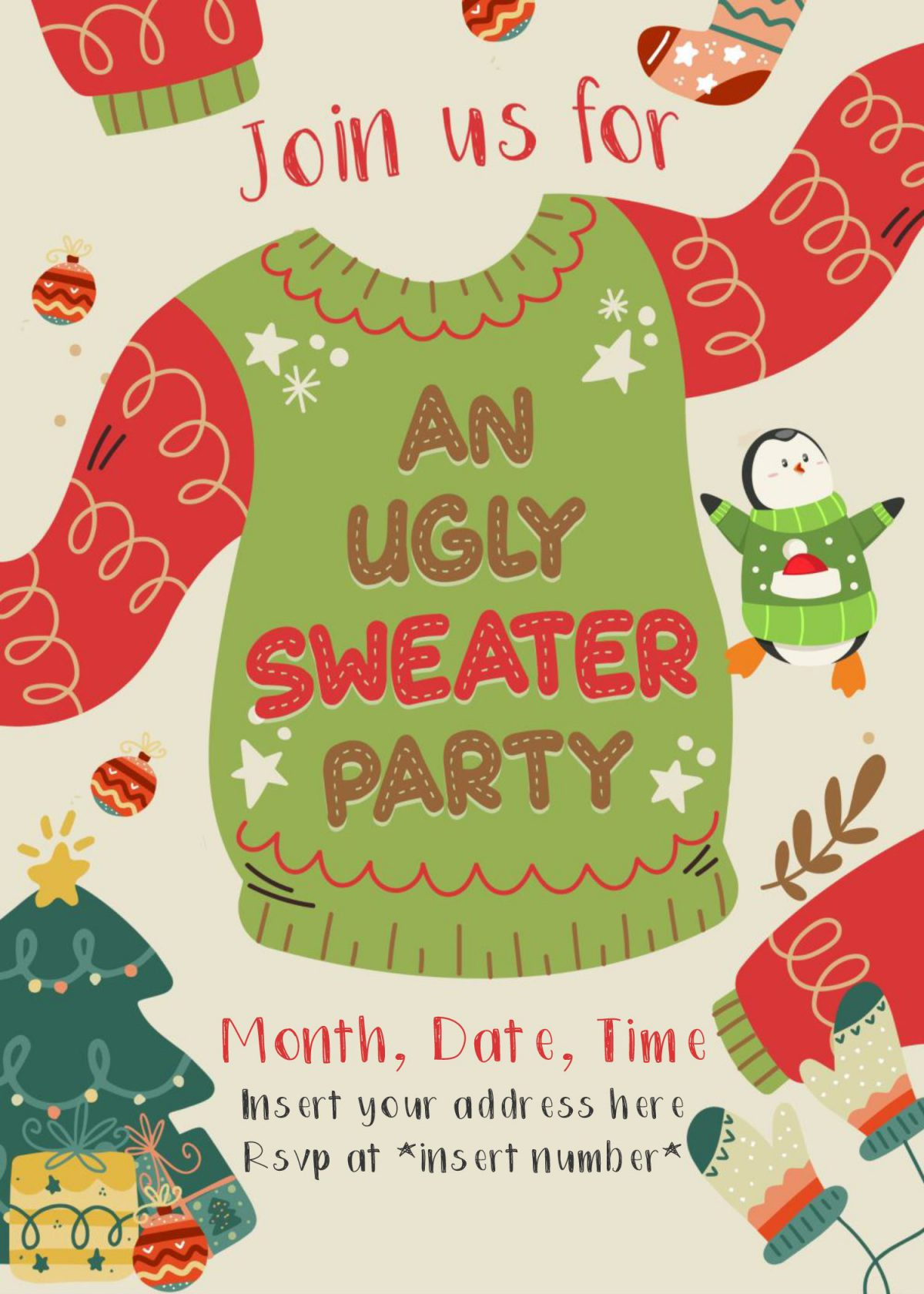 Free Winter Ugly Sweater Birthday Party Invitation Templates For Word and has Christmas tree and balls