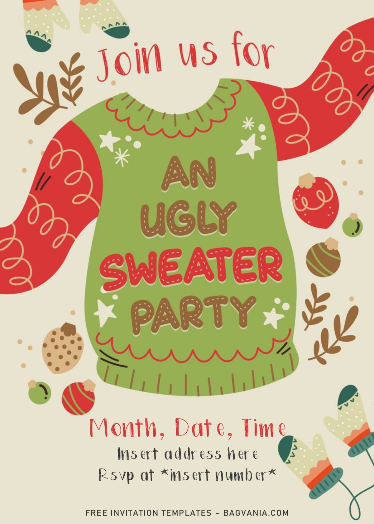 Free Winter Ugly Sweater Birthday Party Invitation Templates For Word and has Christmas ugly sweater