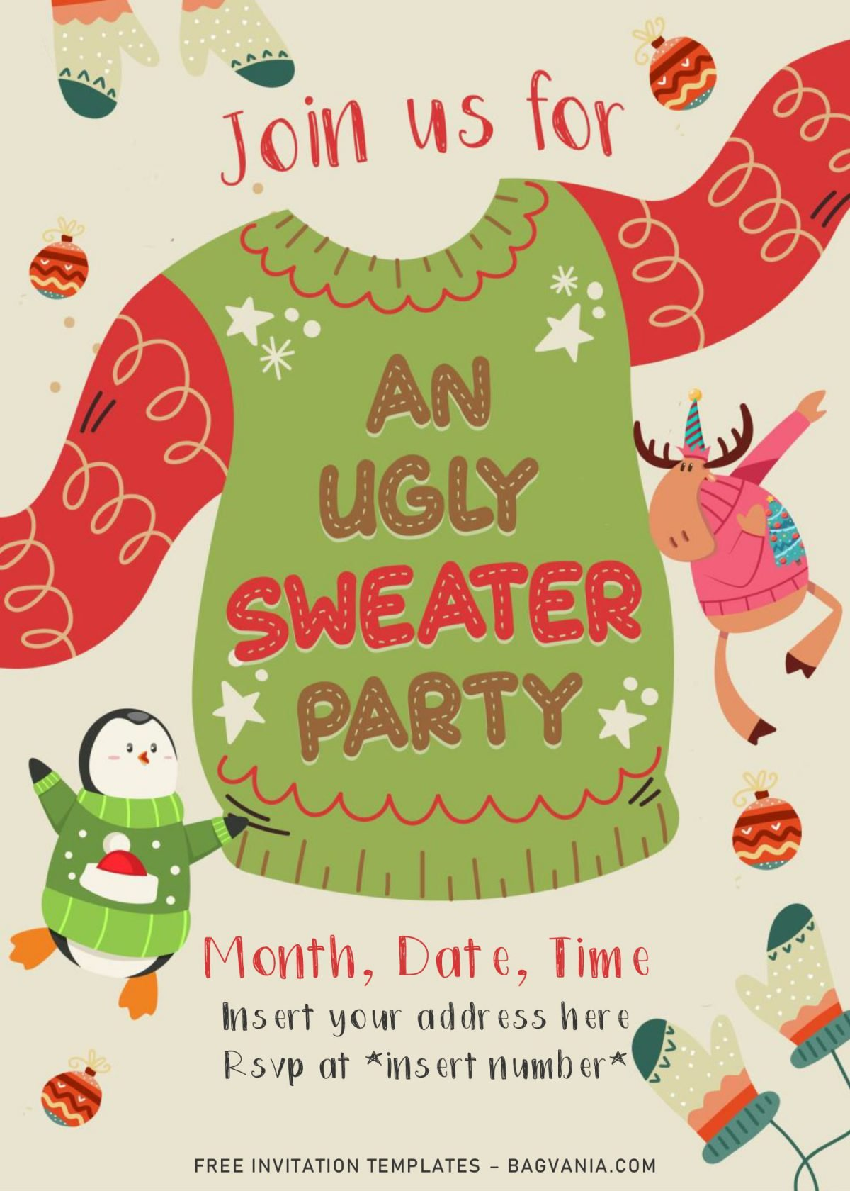 Free Winter Ugly Sweater Birthday Party Invitation Templates For Word and has Cute Penguin is wearing sweater